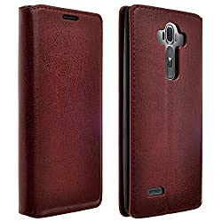 LG G4 Case, Deluxe Brown Pu Leather Folio Wallet Flip Case Cover With Kickstand For LG G4 (Brown Slim Wallet)