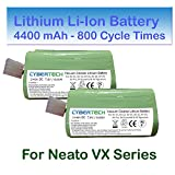 CyberTech 4400mAh Lithium Super Extended Long-Life (800 Cycle time) Replacement Li-Ion Battery 2-Pack for Neato XV-15 XV-21 XV-25 Signature XV Pro Robotic Vacuum Cleaner