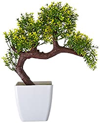Fourwalls Miniature Artificial Drooping Tree in Melamine Vase (25 cm, Yellow)