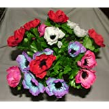 Artificial Silk Anemone Bush with Leaves 21 flower heads - grave home weddings spring flowers