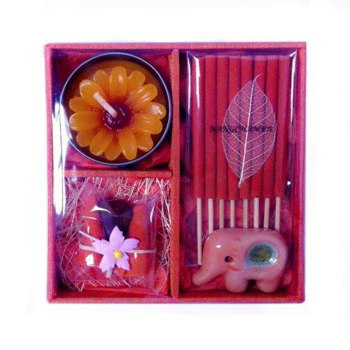 Gift Set Rose Incense Caldle Elephant Container In Thai Aroma Silk Box (Orange: Nangchampa)