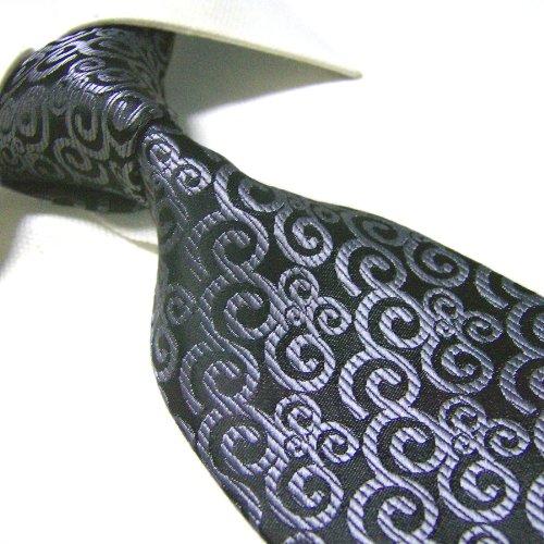 Extra Long Fashion Tie By Towergem,Black/Silver Xl Men'S Necktie