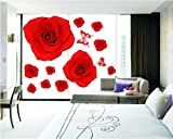 UberLyfe Red Rose Wall Sticker (Wall Covering Area: 125cm x 120cm)