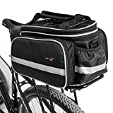 Disconano® Waterproof Multi Function Excursion Cycling Bicycle Bike Rear Seat Trunk Bag Carrying Luggage Package Rack Pannier with Rainproof Cover (Black)