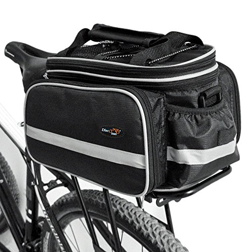 Disconano® Waterproof Multi Function Excursion Cycling Bicycle Bike Rear Seat Trunk Bag Carrying Luggage Package Rack Pannier with Rainproof Cover (Black) (Bike Rear Rack With Bag compare prices)