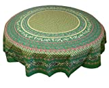 "Le Cluny Olives and Mimosa Emerald Green 70"" Round Tablecloth"