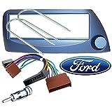 Einbauset-und-Rahmen-fr-DIN-Autoradio-Ford-Ka-ISO-Kabel-Antennenadapter-und-Entriegelungswerkzeug-blau