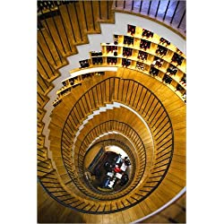 Poster 90 x 130 cm: overview of the l'Intendant wineshop staircase by Walter Bibikow / Danita Delimont - high quality art print, new art poster
