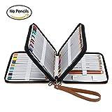 Taotree 120色PUレザー色鉛筆ケース 120本用ペンシルケース 消しゴム/ 鉛筆削り/ 直尺/ 色鉛筆たっぷり収納 筆箱 鉛筆ケース (ブラウン)