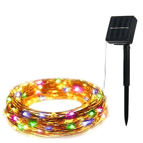 ILLUNITE String Luci Luci filo LED solari rame per la festa nuziale di Natale della decorazione della casa (multicolored)