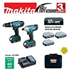Makita 18V Cordless Twin Set - Combi Drill and Impact Driver (3 x Batteries)