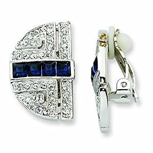 Silver-tone Clear and Blue Swarovski Crystal Art Deco Clip Earrings