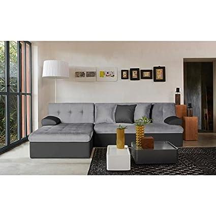 Scott Sofá de esquina reversible convertible en imitación de piel y tejido, 5 plazas-175 252 x 85 x 77 cm, color gris