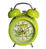 "6025B Extremely Silent Children Cartoon Metal Twin Bell Alarm Clock 3"" (Frog - Green)"