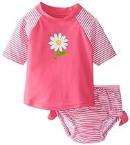 i Play Baby Girls Short Sleeve Tie Rashguard And Swim Diaper Set,Hot Pink Daisy,X-Large/ 18-24 Months
