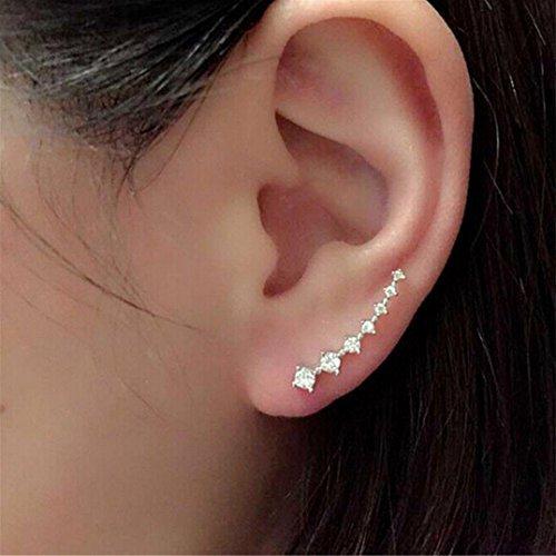Orangesky 1Pair Rhinestone Crystal Earrings Ear Hook Stud Jewelry Sliver (Silver)