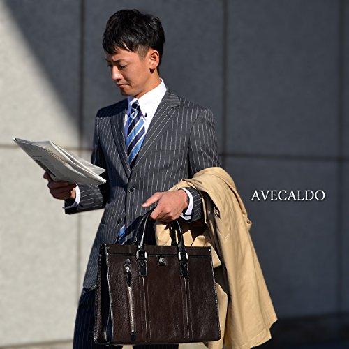 【AVECALDO 高級 レザー ビジネスバッグ メンズ 】AV-H002(ネイビーグリーン2(大開きタイプ)) 牛革 ビジネスバッグ 日本製 出張 B4 クリスマスプレゼント 彼氏