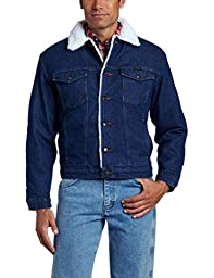 Wrangler Men's Sherpa Lined Denim Jacket, Denim/Sherpa, XX-Large
