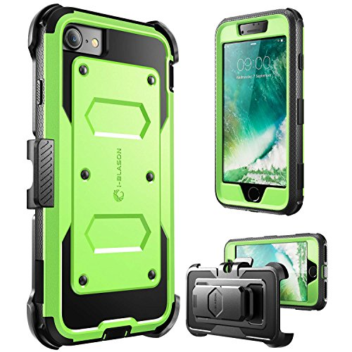 iPhone 7 Case, i-Blason ArmorBox Daul Layer [Full body] [Heavy Duty Protection ] Shock Reduction / Bumper Case with built in Screen Protector for Apple iPhone 7 2016 Release (Green)