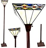 #1 Tiffany Noir Mission Style Torchiere Floor Lamp with Vintage Bronze