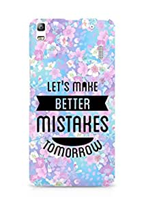 Amez Lets make better Mistakes Tomorrow Back Cover For Lenovo K3 Note