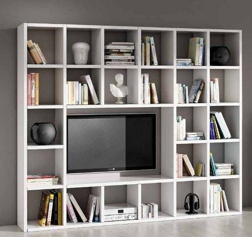 Parete attrezzata porta tv libreria soggiorno bianco frassinato 25 elemenTI