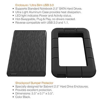Sabrent USB 3.0 to SSD / 2.5-Inch SATA External Shockproof Aluminum Hard Drive Enclosure Fits UASP SATA III, Black...