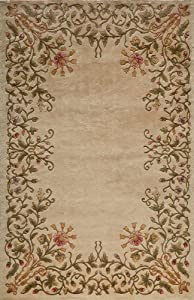 "2' x 3' Rectangular Oscar Isberian Rugs Accent Rug Ivory Color Hand Tufted China ""Harmony Collection"""