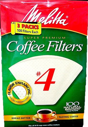 Melitta Super Premium Coffee Filters, Naturan Brown, No. 4, 100-Count Filters (Pack of 3) (Super Fine Coffee Filter compare prices)