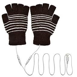 eBerry® USB Heated Stripe Pattern Fingerless Gloves Cold Winter Wool Knit Warmer Glovers for Men Women Premium Winter Gift (Brown)