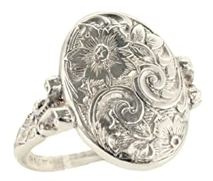 Victorian Style Sterling Silver Engraved Floral Whimsy Ring (Sz 4.5)