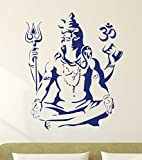 #4: Decal Design 'Lord Shiva Om Meditating Wall Sticker for Home' (PVC Vinyl, 50x70cm, Blue)