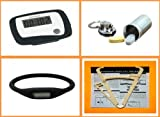 Bundle - (4 Items) Pedometer Step Counter + Personal Body Fat Caliper Tester + Keychain Metal Storage Pill Case + Negative Ion Watch