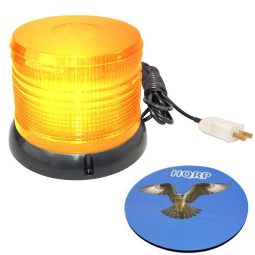 Hqrp Emergency Warning Flashing Beacon Amber Strobe Light 110V Ac With Big Flat Top Magnetic Mount For The Safety Of The Construction Works Plus Hqrp Coaster