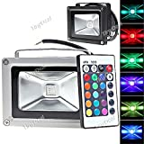 85-265V 10W 900LM Remote Control LED Flood Light RGB HLB-193360 - Black