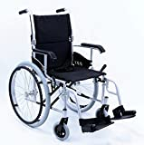 "New Karman LT-980 ( LT-980-SI ) Ultra Lightweight Wheelchair with Swing Away Footrest in Silver, 18"" Seat Width 24 lbs."