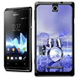 Funky Reflective Drum Set Futuristic Hard Case Clip On Back Cover For Sony Xperia E