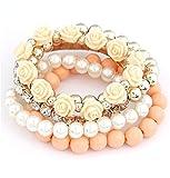 Shining Diva Fashion Pretty & Trendy Peach Roses Bracelets for Girls
