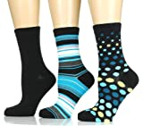 Noble Mount Womens Premium Crew Socks - 3 Pack - Size 9-11 - Trendy Designs Available