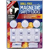 3-Keys-8-Locks-NEW-IMPROVED-Drill-Free-Magnetic-Safety-Cabinet-Drawer-Locks-Super-Strength-3M-Adhesive-for-Baby-Proofing-Easy-Tool-Free-Installation-100-Money-Back-Guarantee