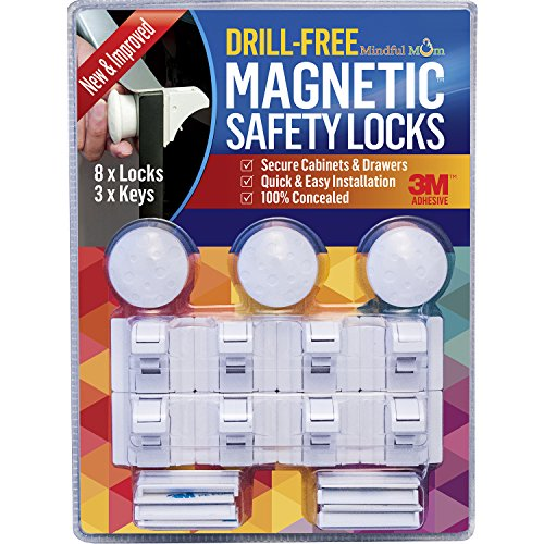 Mindful Mom Drill-Free Magnetic Safety Cabinet and Drawer Locks (3 Keys and 8 Locks) (Baby Proofing Cabinet Locks compare prices)