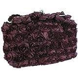 Romantic Rose Rosette Sheer Satin Soft Baguette Evening Clutch Handbag Purse w/Detachable Chain