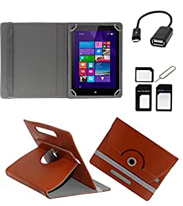 ECellStreet ROTATING 360° PU LEATHER FLIP CASE COVER FOR Simmtronics SIMM-X720 7 INCH TABLET STAND COVER HOLDER - Brown + Free OTG Cable + Free Sim Adapter Kit