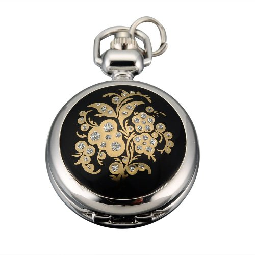 AMPM24 Women Lady Clear Crystal Flower Dangle Pendant Pocket Quartz Watch + Chain