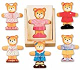 2 Item Bundle: Melissa & Doug 512 Wooden Bear Dress Up Playset + Free Hair Bow