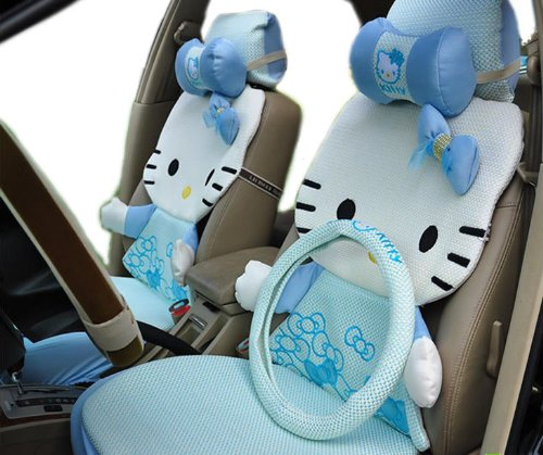12pcs Blue Summer Ice Kitty Auto Car Rearview Front Rear Seat Saddle Cover Kit EMS Shipping ZJ000160