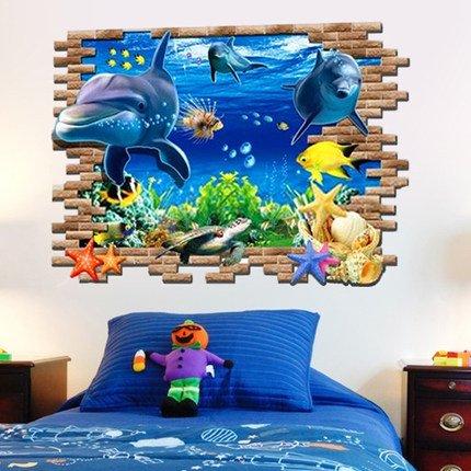 Delfino sfondo 3D camera da letto parete adesivo salotto divano illusione di adesivi impermeabili marino spazio , d , large