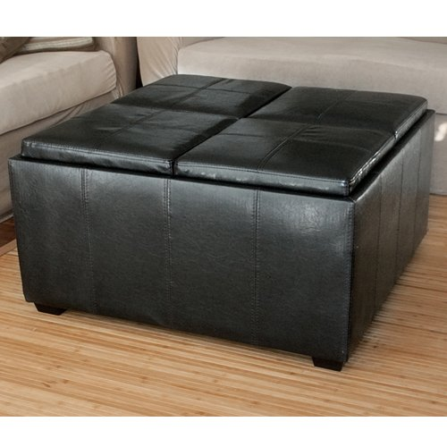 Leather ottoman with 4 tray tops storage bench coffee table black leather from Black ottoman coffee table