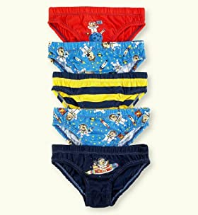 5 Pack - Younger Boys' Pure Cotton Assorted Space Monkey Slips