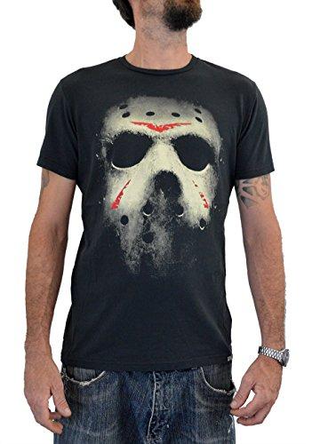 "Faces T-shirt Uomo ""FRIDAY THE 13TH MASK"" Stampa Serigrafica Manuale ad Acqua (XXL Uomo)"